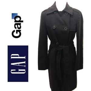 GAP M Trench Coat Dark Brown Double Breast Solid